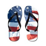 Waving American Flag Photograph Flip Flops