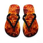 Smiling Flaming Skeleton Flip Flops