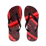 Hawaiian Red Veined Leaf Flip Flops