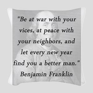 Franklin - War Peace Woven Throw Pillow