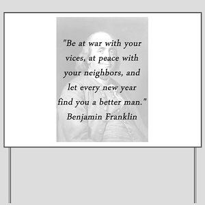 Franklin - War Peace Yard Sign