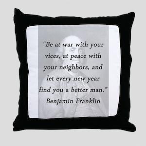 Franklin - War Peace Throw Pillow