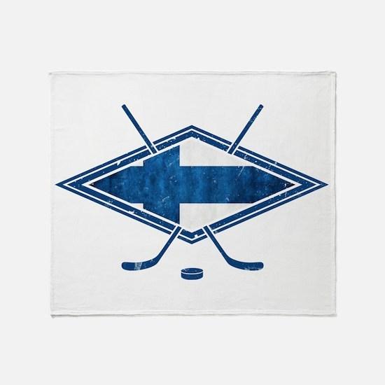 Suomi Jääkiekko Flag Logo Throw Blanket