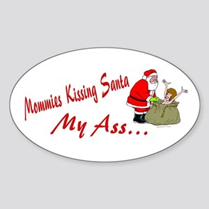 Mommies Kissing Santa Oval Sticker