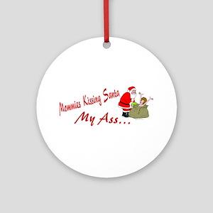 Mommies Kissing Santa Ornament (Round)