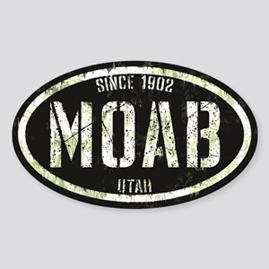 Moab Black White Grunge Sticker (Oval)