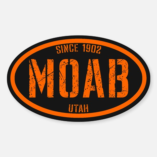 Moab Black Safety Orange Sticker (Oval)
