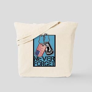 POW/MIA Never Forget Dog Tags Tote Bag