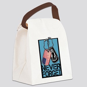 POW/MIA Never Forget Dog Tags Canvas Lunch Bag