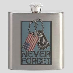 POW/MIA Never Forget Dog Tags Flask