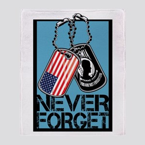 POW/MIA Never Forget Dog Tags Throw Blanket