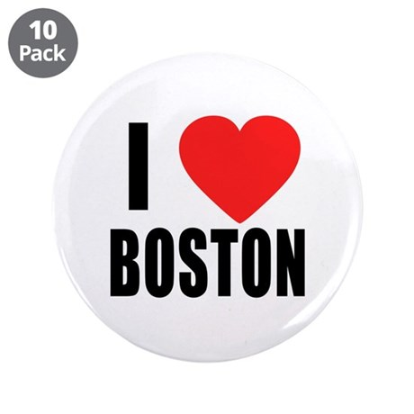 "I HEART BOSTON 3.5"" Button (10 pack)"