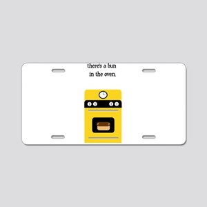 bun in the oven yellow Aluminum License Plate