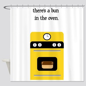 bun in the oven yellow Shower Curtain