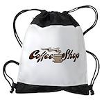 FIN-coffee-shop-1 Drawstring Bag