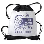 FIN-try-our-coffee-ad Drawstring Bag
