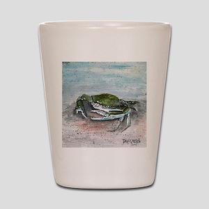 blue crab acrylic painting Shot Glass