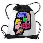 FIN-coffee-break-retro Drawstring Bag