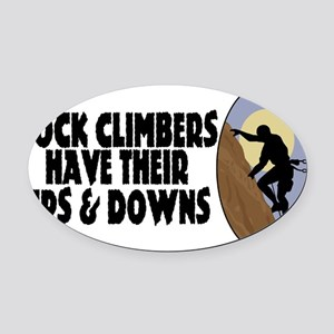 Rock Climbers Oval Car Magnet
