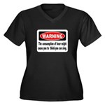 FIN-warning-beer-sing.png Women's Plus Size V-Neck