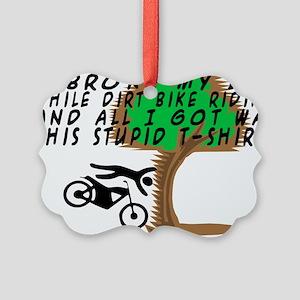 Dirt Bike Into Tree Picture Ornament