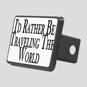 Rather Travel The World Rectangular Hitch Cover