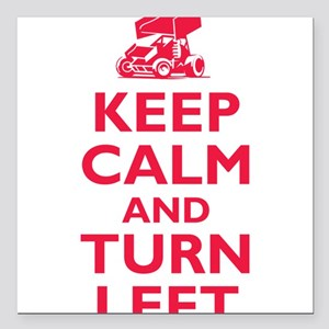 """Keep Calm and Turn Left Square Car Magnet 3"""" x 3"""""""