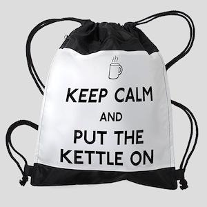 FIN-keep-calm-kettle-on Drawstring Bag