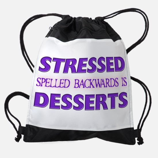 FIN-stressed-backwards-desserts.png Drawstring Bag