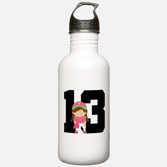 Softball Player Uniform Number 13 Water Bottle