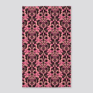 Pink and Black Damask 3'x5' Area Rug