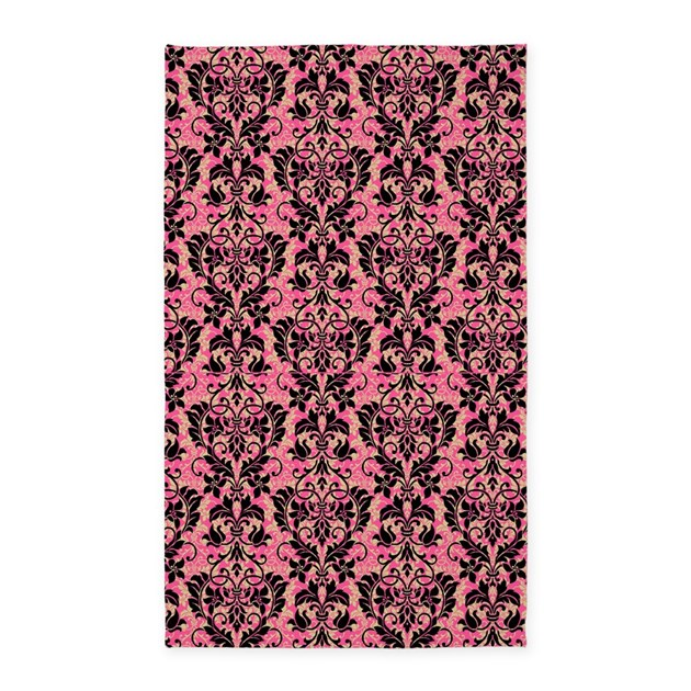 Pink And Black Damask 3 X5 Area Rug By Glamourgirls2