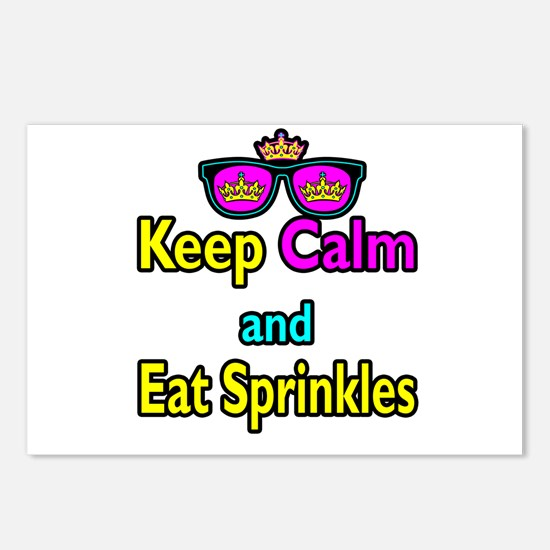 Crown Sunglasses Keep Calm And Eat Sprinkles Postc