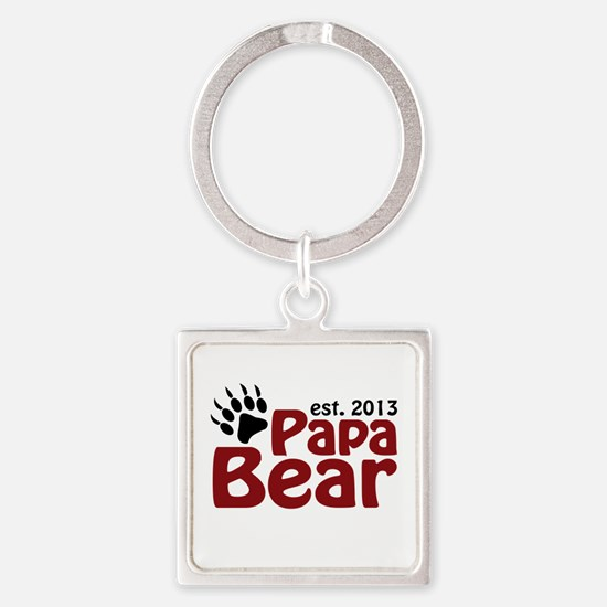 Papa Bear New Dad 2013 Square Keychain