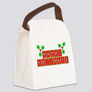 happy holidays letters Canvas Lunch Bag