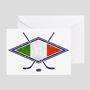 hockey su Ghiaccio Italiano Flag Greeting Card