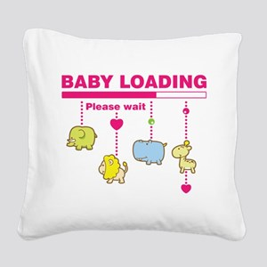 Baby girl loading Square Canvas Pillow