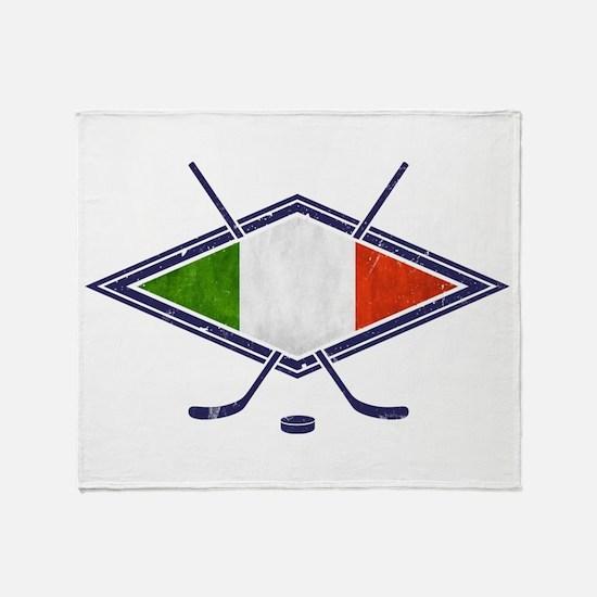 hockey su Ghiaccio Italiano Flag Throw Blanket
