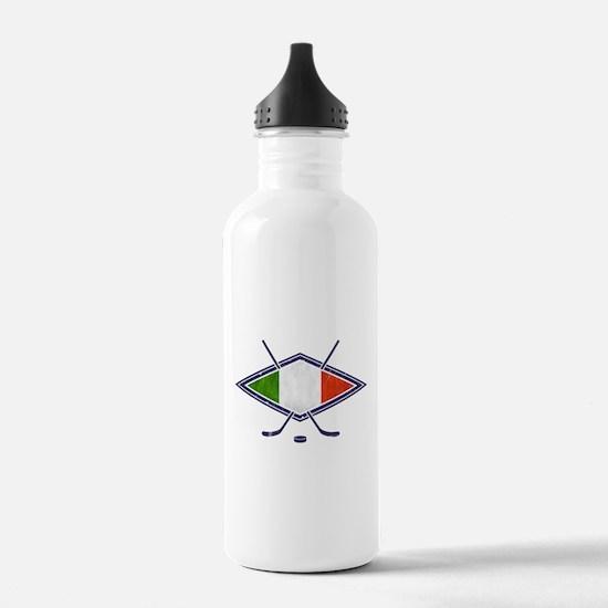 hockey su Ghiaccio Italiano Flag Water Bottle