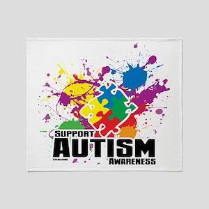 Autism Paint Splatter Throw Blanket