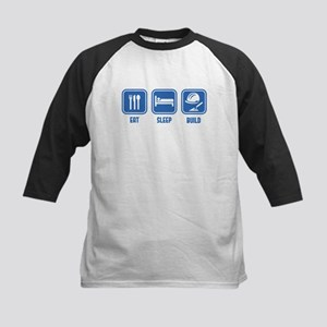 Eat Sleep Build design in Blue Baseball Jersey