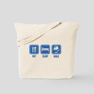 Eat Sleep Build design in Blue Tote Bag