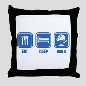 Eat Sleep Build design in Blue Throw Pillow