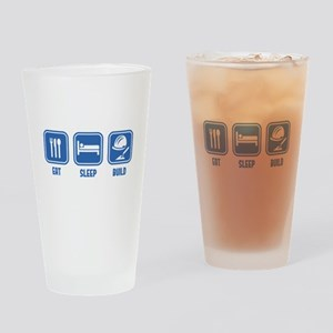 Eat Sleep Build design in Blue Drinking Glass