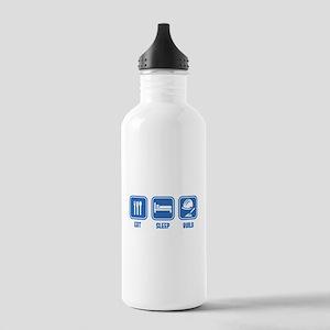 Eat Sleep Build design in Blue Water Bottle