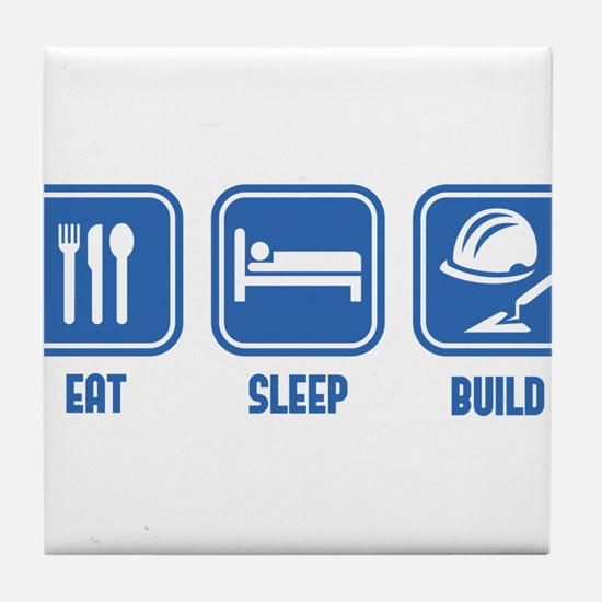 Eat Sleep Build design in Blue Tile Coaster