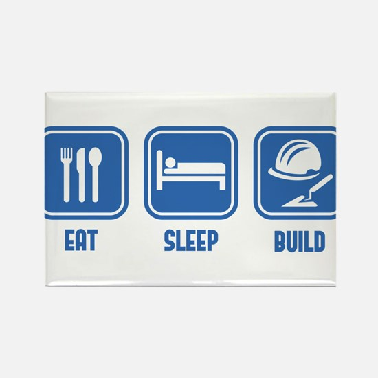 Eat Sleep Build design in Blue Rectangle Magnet