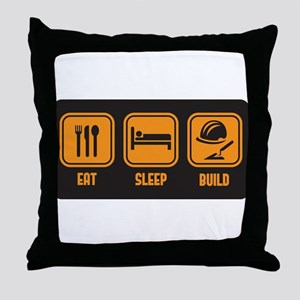 Eat Sleep build in orange with black background Th