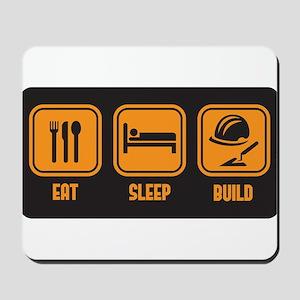 Eat Sleep build in orange with black background Mo