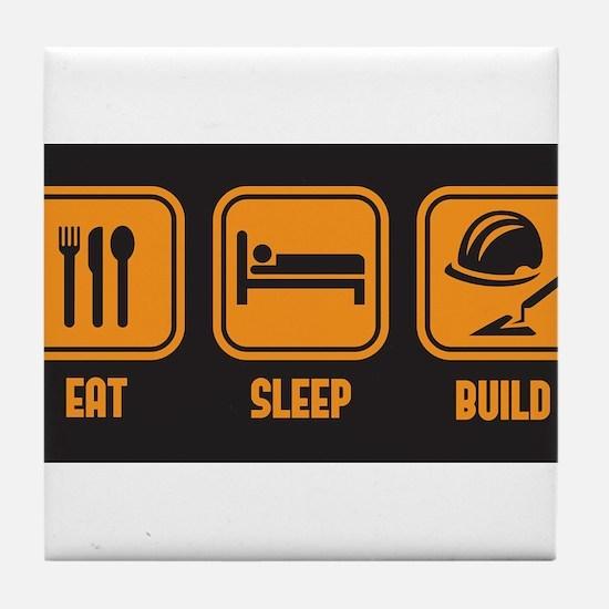 Eat Sleep build in orange with black background Ti